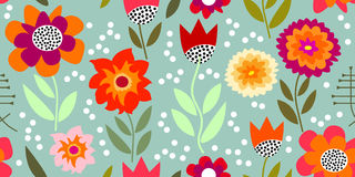 Autumn glory. Seamless vector pattern with chrysanthemums and asters. Inspired by 1950s-1960s design. Retro textile collection vector illustration
