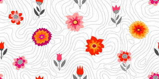 Autumn glory. Seamless vector pattern with chrysanthemums and asters. Inspired by 1950s-1960s design. Retro textile collection Stock Illustration