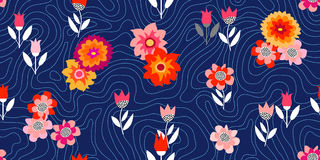 Autumn glory. Seamless vector pattern with chrysanthemums and asters. Inspired by 1950s-1960s design. Retro textile collection Royalty Free Illustration