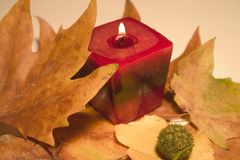 Autumn glow. Arrangement of fall leaves and burning candle Royalty Free Stock Photos