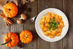 Autumn gnocchi with a pumpkin cream sauce, above table scene over wood Royalty Free Stock Images