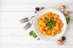 Autumn gnocchi with a pumpkin cream sauce, top view table scene over white wood Royalty Free Stock Photography