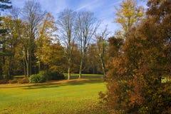 Autumn gof course. Fairway of autumn golf course Stock Photo