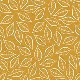Autumn gold natural background from contours of white leaves. Seamless decorative eco backdrop. Environmental pattern with floral. Leaves royalty free illustration