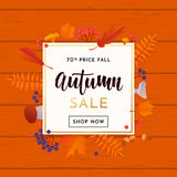 Autumn gold sale poster or September shopping promo banner for autumnal discount Stock Photos