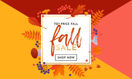 Autumn gold sale text poster for September shopping promo autumnal shop discount Royalty Free Stock Photography