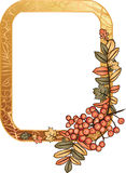 Autumn golden frame with rowan berry Stock Image