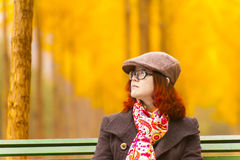 ginkgo trees and girl Stock Image