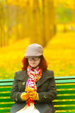 Ginkgo trees and girl Royalty Free Stock Images