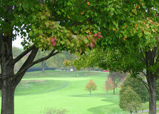 Autumn Golf Hole. Golf hole in the distance, framed in autumn colors Stock Photography