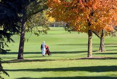 Autumn Golfer Walking Stock Photos