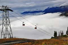 Autumn, Gondola, mountain in Whistler, British Columbia, Canada Stock Photography