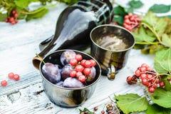 Autumn goods, bowl full of berries stock images