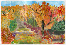 Autumn, gouache sketch. Royalty Free Stock Photo