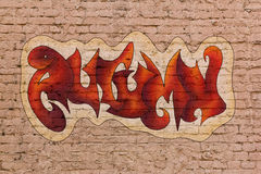 Autumn graffiti. The word Autumn in street graffiti style placed upon brick wall Royalty Free Stock Images