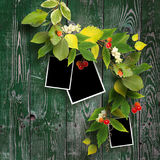 Autumn grame for three images. And a bouquet of autumn leaves on wooden background. School background Royalty Free Stock Images