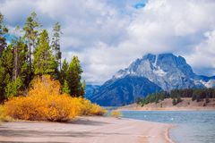 Autumn Grand Teton National Park stock afbeelding
