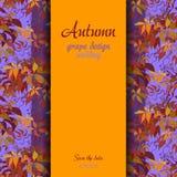 Autumn grape with orange leaves background. Vertical border wedding design. Stock Photography
