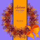 Autumn grape with orange leaves. Circle and border wedding design. Stock Images