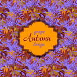 Autumn grape with orange leaves. Seamless pattern. Vintage text label Stock Photo