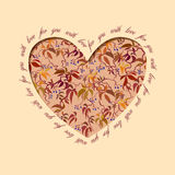 Autumn grapevine heart design. Floral love card. Royalty Free Stock Images