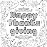 Autumn graphic card with fruits and vegetables in black and white colors. Vector Thanksgiving day design. Coloring book page desig. N for adults and kids Royalty Free Stock Photo