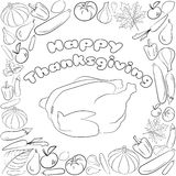 Autumn graphic card with turkey, fruits and vegetables in black and white colors. Vector Thanksgiving day design. Coloring book pa Stock Photo