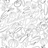 Autumn graphic seamless pattern with fruits and vegetables in black and white colors. Vector Thanksgiving day design. Coloring boo. K page design for adults and Vector Illustration