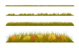 Autumn grass with fall leaves on white background. Set of autumn decorations. Stock Photography