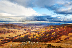 Autumn grassland cloudscape and forest Stock Photography