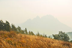 The autumn grassland and hazy mountains Royalty Free Stock Images
