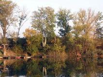 Autumn Green Trees Reflecting en rivière tranquille photos stock