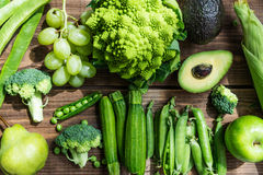 Autumn Green Vegetables et fruits crus frais Photos stock