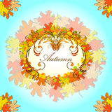 Autumn greeting card with border of floral ornament and colored maple leaves Stock Photos