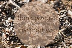 Autumn Greeting Card, citazione è positivo Fotografie Stock