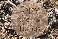 Autumn Greeting Card, citazione gode di piccole cose Fotografie Stock