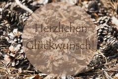 Autumn Greeting Card, Glueckwunsch significa le congratulazioni Immagine Stock Libera da Diritti