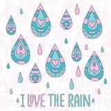 Autumn greeting card I love the rain. Vector illustration Stock Photo