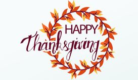 Autumn greeting card with text Happy Thanksgiving