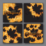 4 Autumn Greetings card with Happy Thanksgiving Day title. Royalty Free Stock Photography
