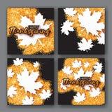 4 Autumn Greetings-kaart met Gelukkige Thanksgiving daytitel Stock Afbeelding