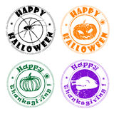 Autumn greetings stamps. Halloween and Thanksgiving stamps, autumn greetings royalty free illustration