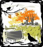 Autumn grunge frame with the bird Royalty Free Stock Photography