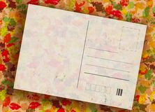 Autumn grunge post card. Post card with autumn coloured leaves on background vector illustration