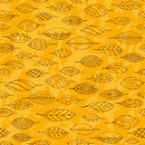 Autumn grunge seamless stylized leaf pattern in Stock Image