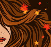 Autumn hairstyle vector Stock Images