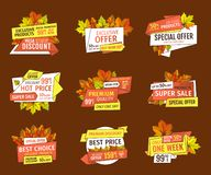 Autumn Half Price Advertising Emblems, ensemble de feuillage illustration stock