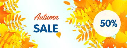 Autumn half sale concept banner, flat style vector illustration