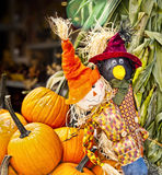 Autumn / Halloween 5. Halloween display of scarecrows, pumpkins, and cornstalks with blurred background Stock Image