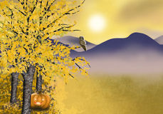 Autumn Halloween background with golden asp tree. Autumn landscape background with asp trees pumpkin and owl Royalty Free Stock Photos